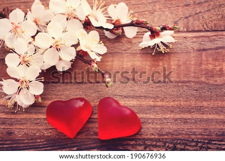Flowering branch with white delicate flowers on wooden surface. Declaration of love, spring. Wedding card, Valentine's Day greeting, Mother's Day. Wedding bouquet, background. Empty wooden tabletop  - stock photo