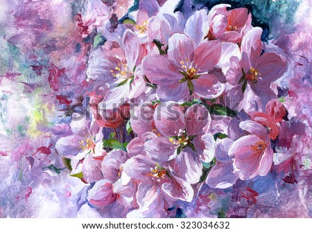 Flowering. Flowers painted with oil paints on canvas. - stock photo