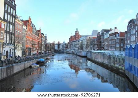 Flowermarket / Bloemenmarkt ,Amsterdam, The Netherlands - stock photo