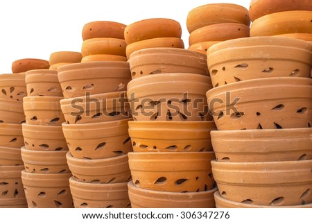 flowerpot baked clay isolated on white background - stock photo