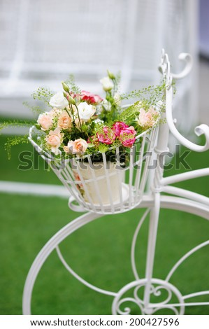 Flowerpot with roses as decoration in room - stock photo