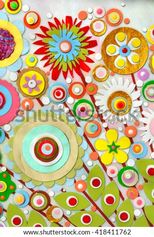 Flowers, abstract surface, composition made of paint layers, quelling with die cut and scissors, abstract background painting. 3d, three, dimensional embossing and carving.