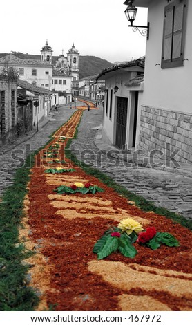 Flowers all the Way - Ouro Preto, Brazil - stock photo