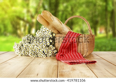 flowers and basket and free place  - stock photo