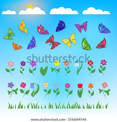 Flowers and butterflies flat design on blue background. Sun and clouds. Set of flat design beauty and nature icons for websites, print, promotional materials, web and mobile services, fashion.