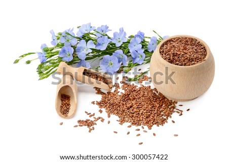 flowers and flaxseeds isolated on a white background - stock photo