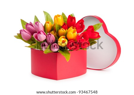 Flowers and gift box isolated on white - stock photo