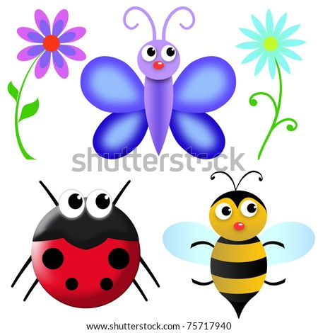 flowers and insects in the garden. white background for easy use or cropping - stock photo