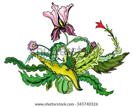 Flowers and leaves, graceful figure - stock photo