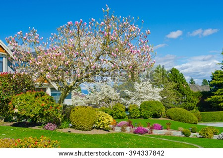 Flowers and stones and nicely trimmed bushes in front of the house, front yard. Landscape design. - stock photo