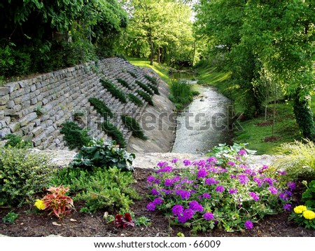 Flowers and Stream - stock photo