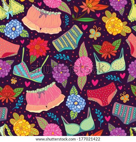 Flowers and underwear seamless pattern. Raster version. - stock photo