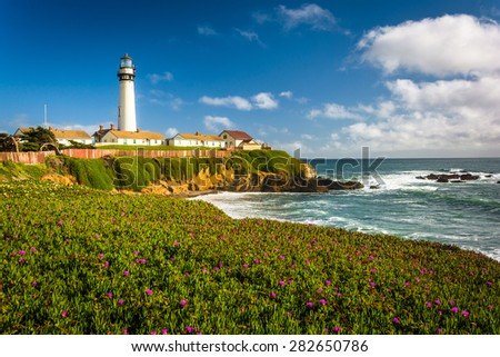 Flowers and view of Piegon Point Lighthouse in Pescadero, California.