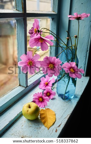 Flowers, apple and autumn leaf on the old windowsill
