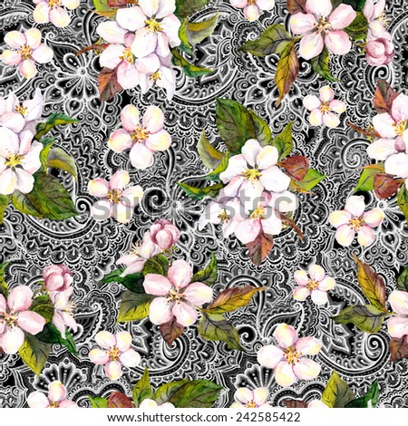 Flowers (apple, cherry blossom) and lace ornament (indian paisley, ethnic curve). Repeting watercolor pattern - stock photo