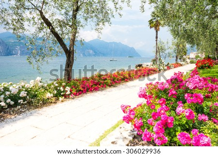 Flowers at the water front of Lake Garda (Italy) - stock photo