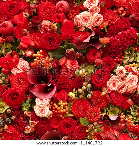 Flowers background with roses, berries, asters and callas - stock photo