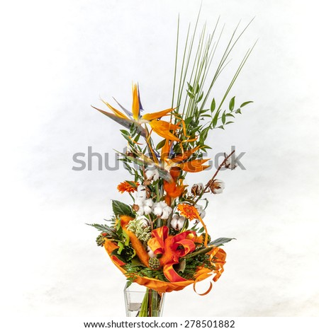 flowers beautiful combined with grass and paradise flower - stock photo