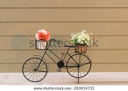 flowers bike - stock photo