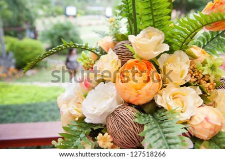 flowers bouquet arrange for decoration - stock photo