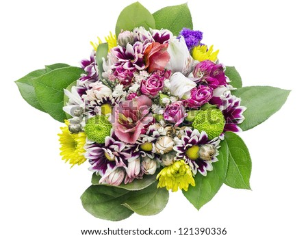 Flowers bouquet for young girl  birthday   background macro. isolated with patch.  Selective focus - stock photo