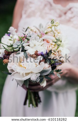 Flowers, bride with bridal bouquet, roses