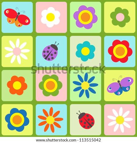 Flowers, butterflies and ladybugs. Seamless pattern - raster version - stock photo