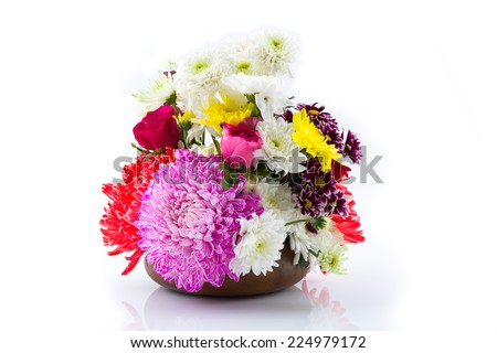 Flowers colourflul wooden bowl  on  isolated background.