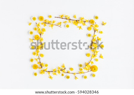 frame made of various yellow flowers on white background easter spring - Yellow Picture Frame