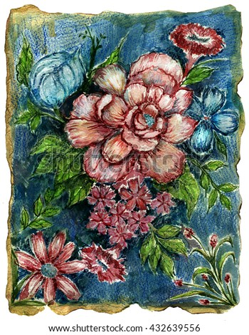 flowers composition. print for the pillow.watercolor flowers.Baroque flowers.old vintage picture