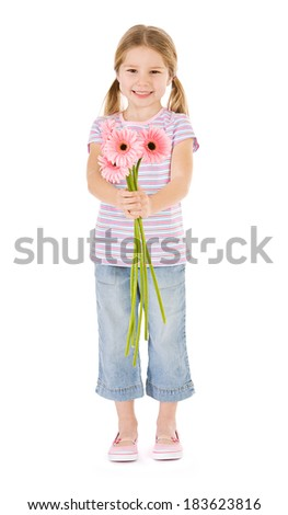Flowers: Cute Girl Holds Out Bunch Of Daisies