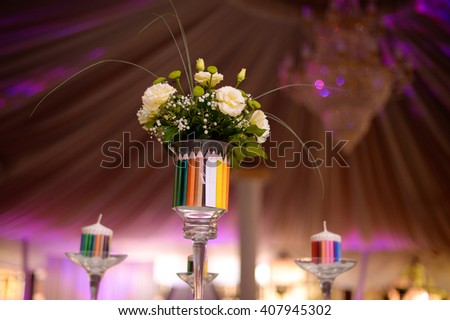 flowers decoration on a table in a restaurant