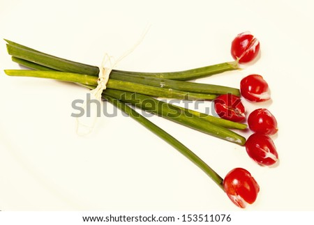 Flowers design make to look like bouquet of flowers but it is really vegetables - stock photo