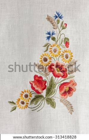 stock-photo-flowers-embroidered-by-hand-