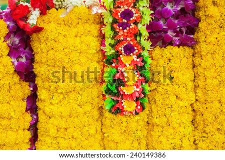 flowers for selling as gifts for buddhist worship at the Erawan Shrine in Bangkok, Thailand - stock photo