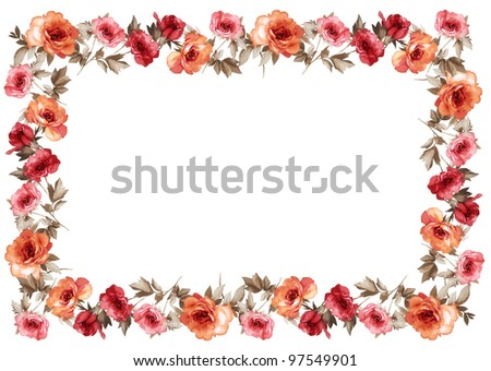 flowers frame in white background isolated - stock photo