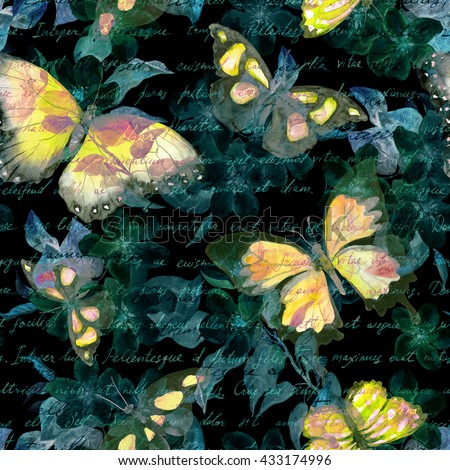 Flowers, glowing butterflies and hand written text note at black background. Watercolor. Seamless pattern  - stock photo