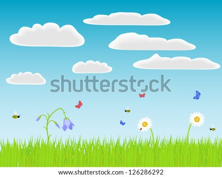 Flowers, grass and bugs. Raster illustration.