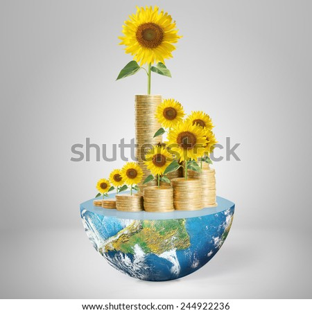 Flowers growing from a money,Some components of this image are provided courtesy of NASA  - stock photo