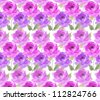 flowers hand painted water color design of perfect roses in a seamless pattern - stock photo
