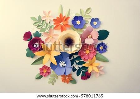 Flowers Handmade Design Papercraft Art Stock Photo Royalty Free 578011765