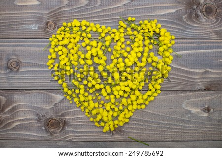 flowers heart on wood panel. Valentines background. - stock photo