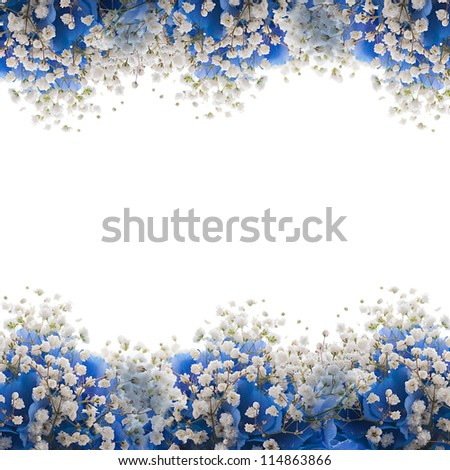 Flowers in a bouquet, blue hydrangeas and white flowers - stock photo