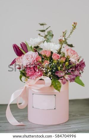 Flowers in a pink box with a bow. The box space for your logo and & Flower Box Stock Images Royalty-Free Images u0026 Vectors | Shutterstock Aboutintivar.Com