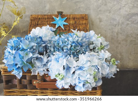 Flowers in Basket , space copy