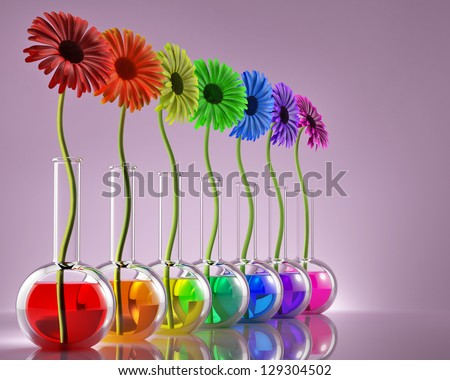 Flowers in laboratory flasks with liquids of different colors - stock photo