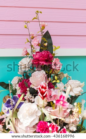Flowers in pastel styles on nature background.Background of Beautiful flower decoration.beautiful flowers made with color filters.selective focus. - stock photo