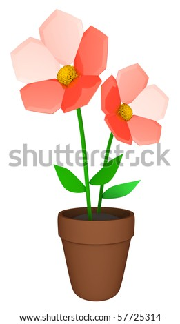 Flowers in pot - isolated with clipping path