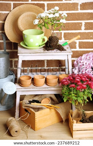 Flowers in pot on stepladder, potting soil, watering can and plants on bricks background. Planting flowers concept - stock photo