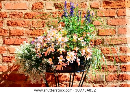 Flowers in the flowerpot against the red bricks wall in Raudondvaris Manor. Lithuania. - stock photo